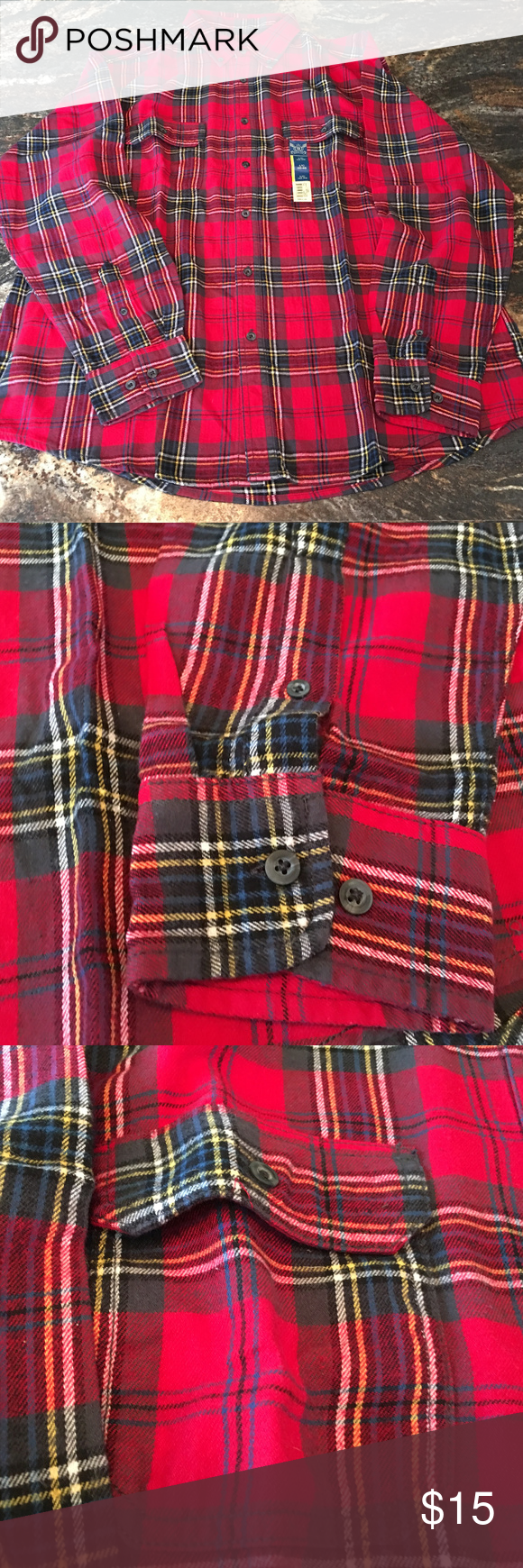 Flannel shirts yellow  Faded Glory Flannel Shirt Mens M Woven Cotton Plai Faded Glory