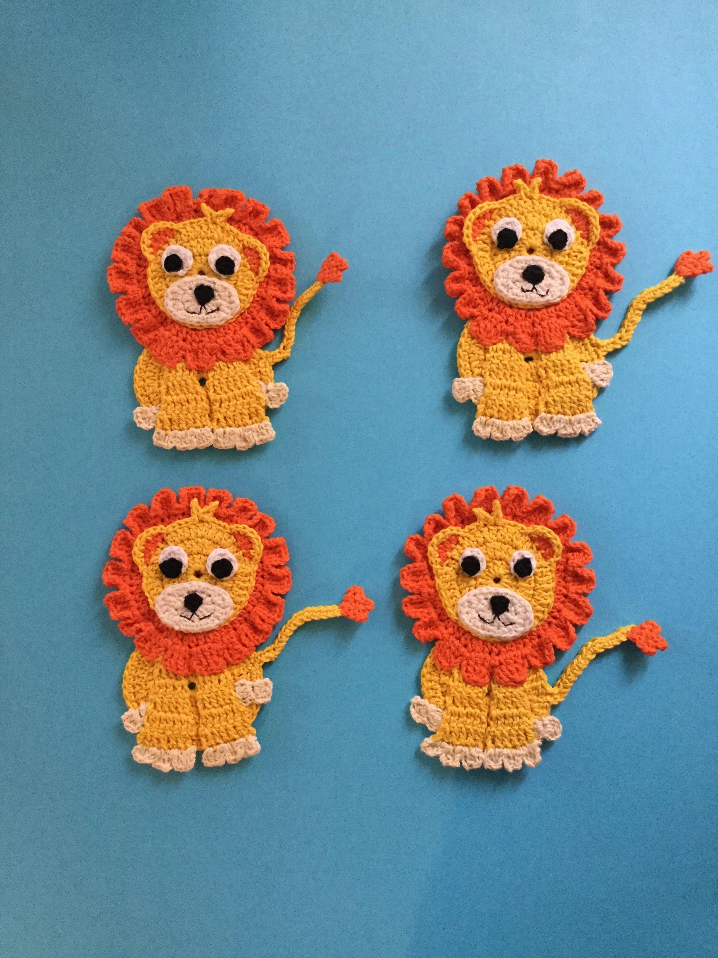 Crochet Lion Pattern | bebeğime | Pinterest | Apliques, Apliques de ...