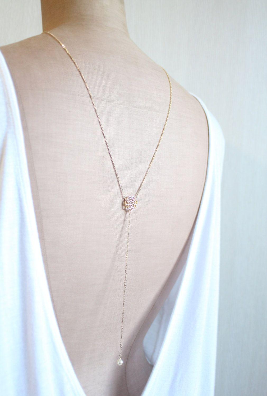 Pearl camellia back drop necklace shoulder necklace pearl bridal