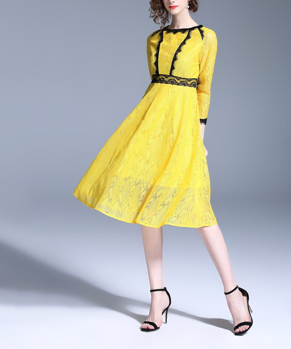 Take a look at this yellow floral laceaccent aline dress women