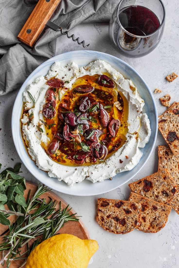 Marinated Goat Cheese Spread #spreads #goatcheese #mediterranean #olives #dips