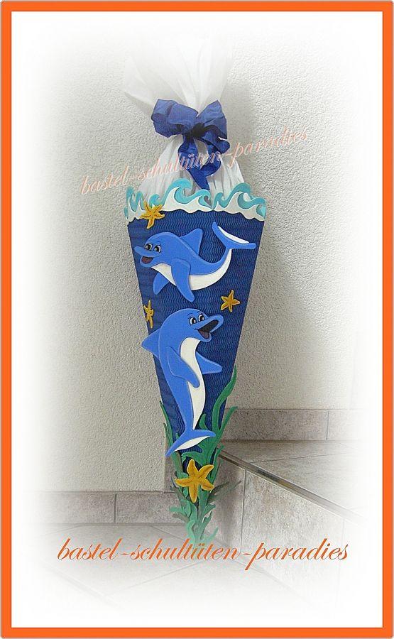 schultüten bastelset delphin blau  schultüte basteln