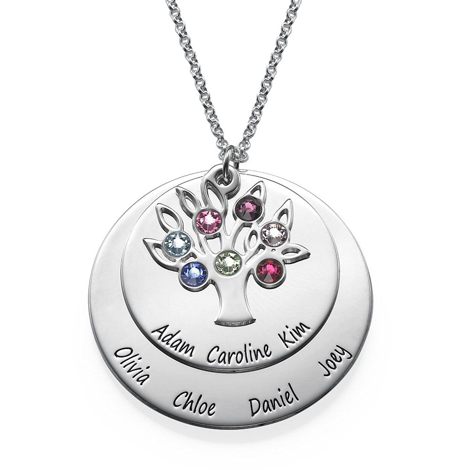 birthstone birthstones grandma and grandkids custom grandkid disk products with names necklace
