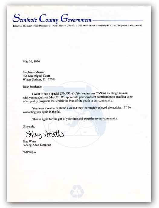 Thank You Letter Seminole County Library Sample Volunteer Download