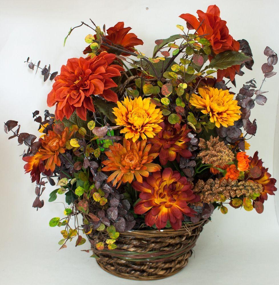 artificial flower arrangement centerpiece floral faux fall mums