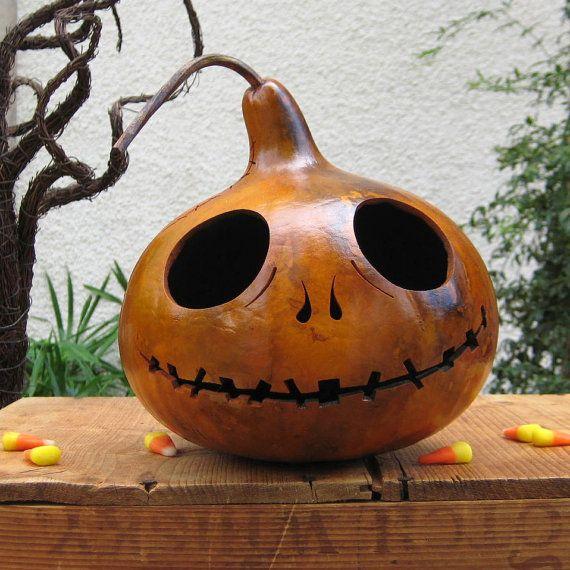 Natural Halloween Decorations: Halloween Gourd JackOLantern Natural Spooky By