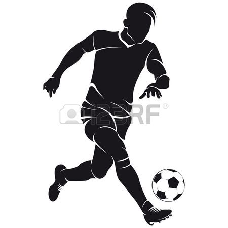 Vector Football Soccer Player Running Silhouette With Ball Soccer Players Soccer Pictures Soccer Drawing