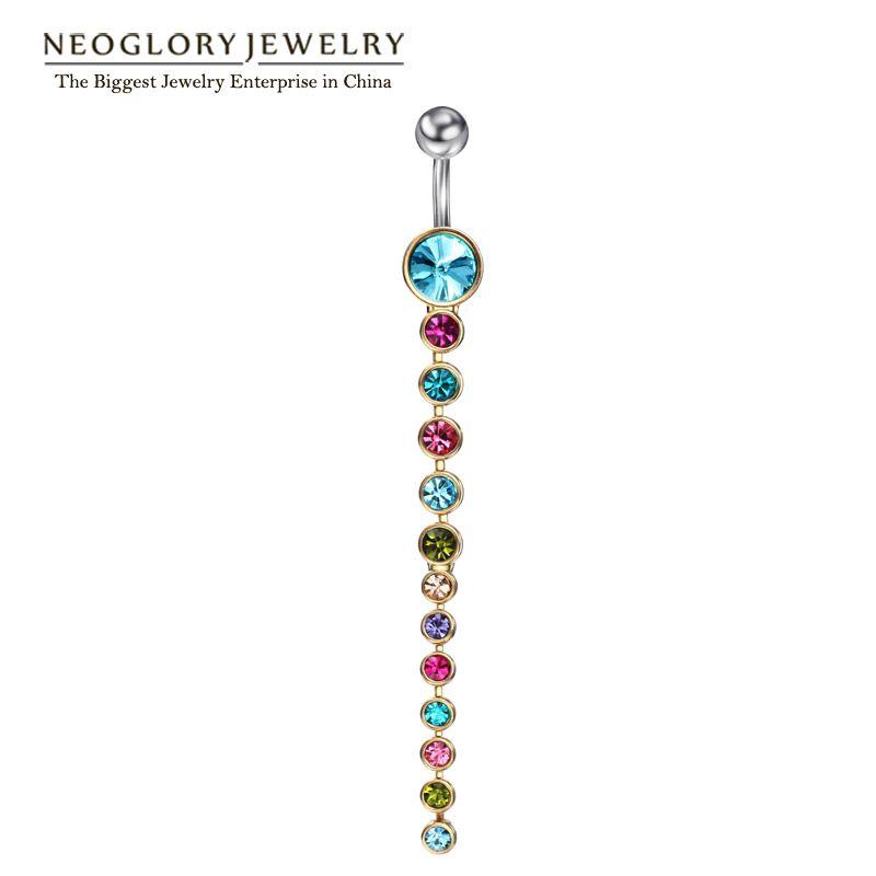 Neoglory strass tragus piercing no umbigo anéis para mulheres body piercing nombril umbigo ombligo jóias da moda 2017 da marca