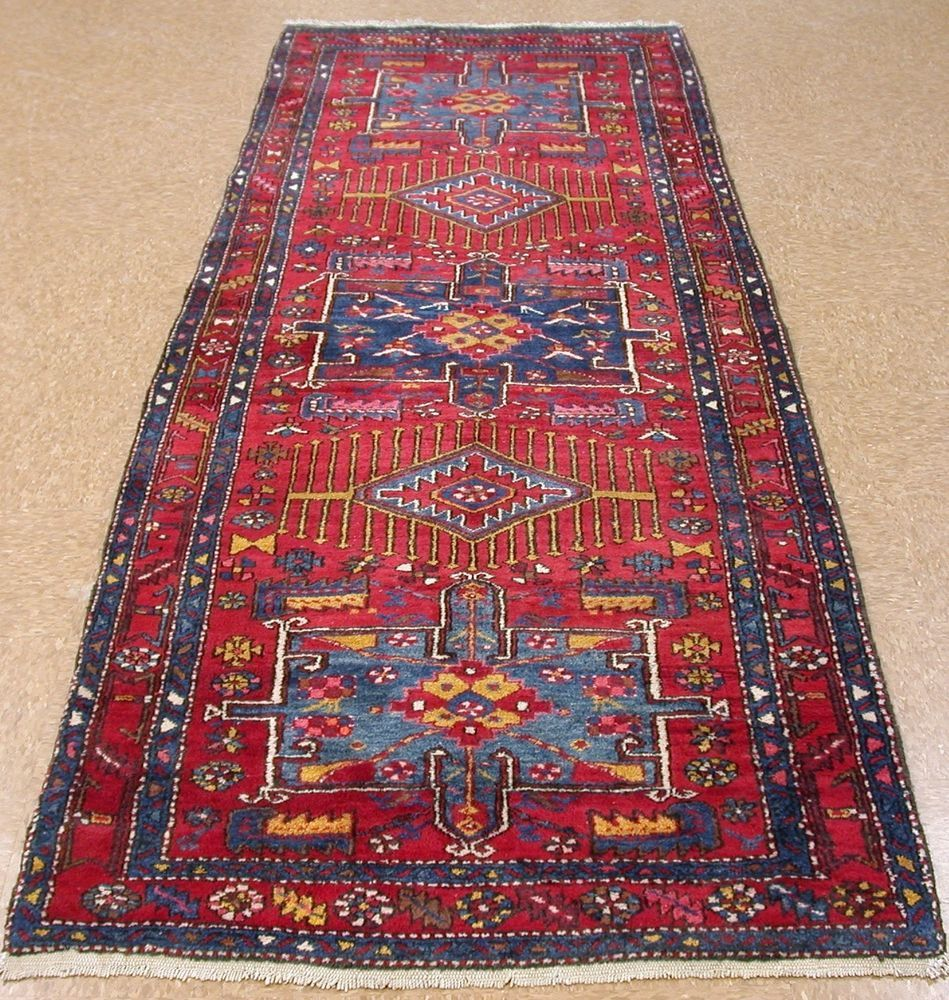 4 X 10 PERSIAN KARAJEH Tribal Hand Knotted Wool RED BLUE Runner Oriental Rug