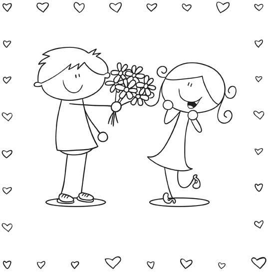 Boy and Girl Valentine's Coloring Page #printables | Boda ...