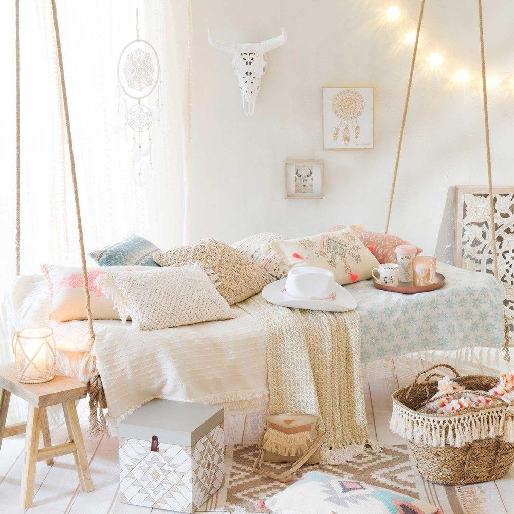 jet en coton blanc et fil dor chambre pinterest maison deco et maison du monde. Black Bedroom Furniture Sets. Home Design Ideas