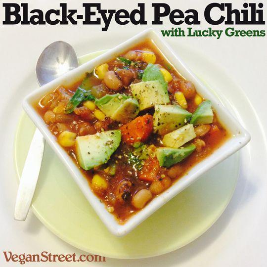 Special New Year's Recipe: Black-Eyed Pea Chili with Lucky Greens: http://veganstreet.com/blackeyedpeachili.html