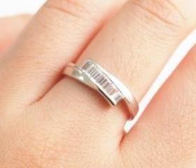 Simple vintage ring, silver ring, crystal ring, wedding ring,engagement ring, bridesmaid ring, vintage ring, birthday ring, SKU500515