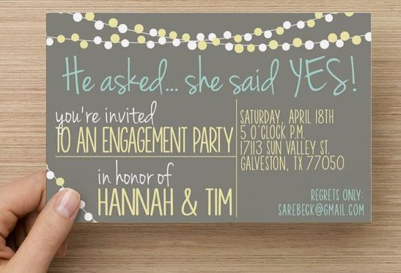 engagement party invitation he asked she said yes string lights