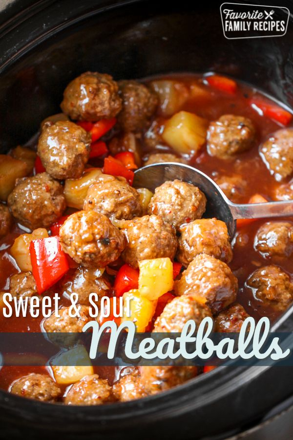 These Crock Pot Sweet and Sour Meatballs are such a GREAT weeknight meal when you dont have a lot of time but you want to make a meal the family is going to love