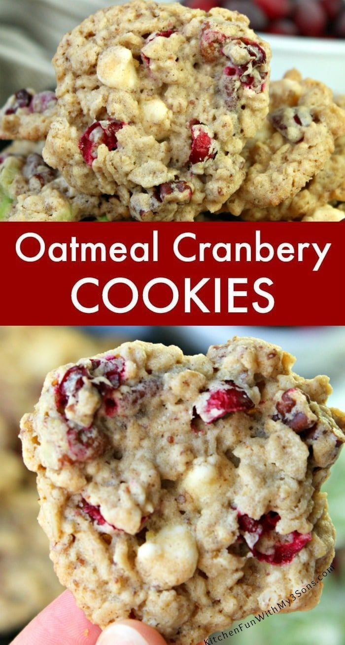 Cranberry Oatmeal Cookies with fresh cranberries, oats, white chocolate chips and pecans. Such a great Christmas Cookie recipe to try this year. Yum! #food #recipes #yummy #cookies #christmas #christmascookies