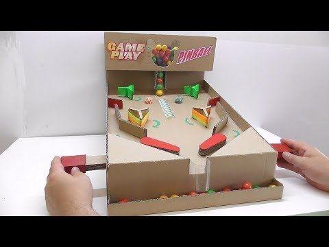 Pinball Gumball Machine From Cardboard Best Game With Gum Youtube Cardboard Crafts Diy Gumball Machine Pinball Diy