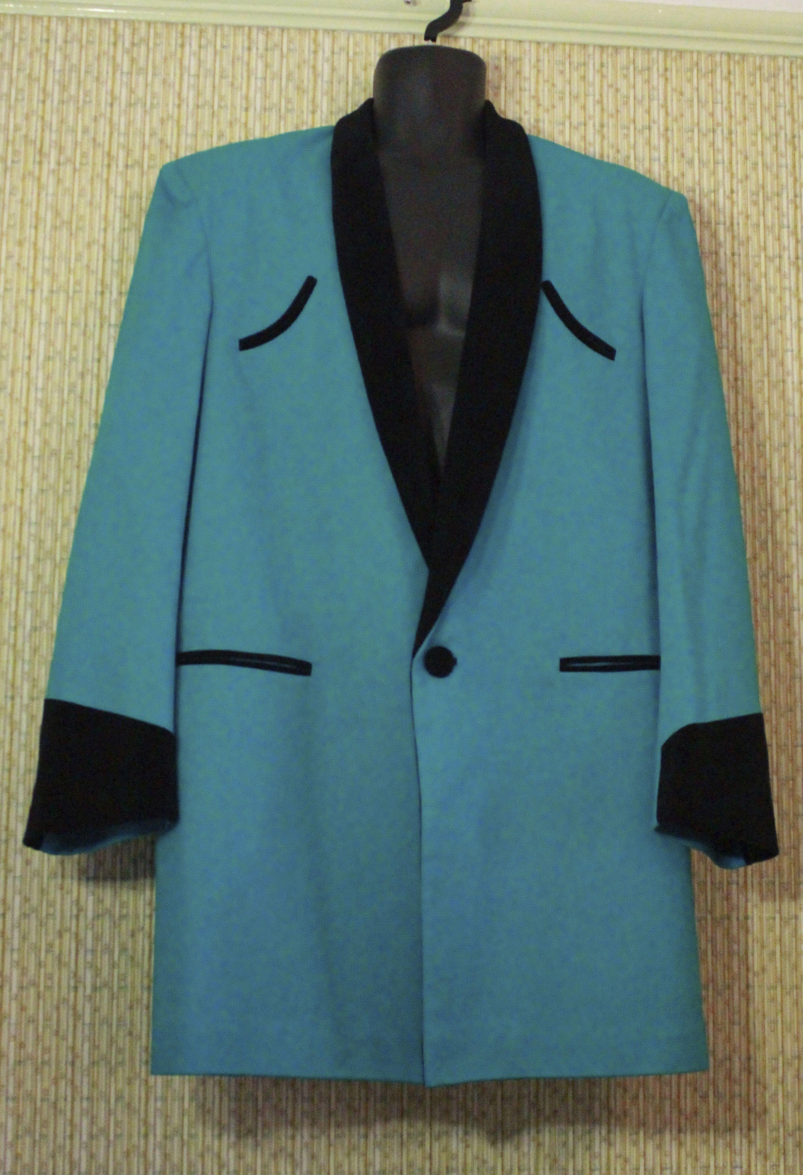 9d1c02de4e09 Traditional Teddy Boy Drape Jacket. turquoise with black velvet collar «
