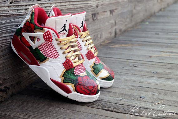 871483fce73f Custom Hand Painted Cash Rose Jordan Retro 4 Men s Size 10.5 Sneakers  Lightly Worn