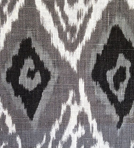 Genial Grey Linen Ikat Fabric By The Yard   Modern Black White Ikat Curtain   Ikat  Home Decor   Grey Ikat Pillows With Piping   Ikat Upholstery