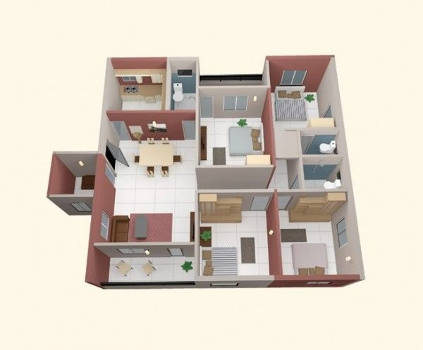 4 Bedroom Apartment/House Plans 40) Four Small Bedrooms