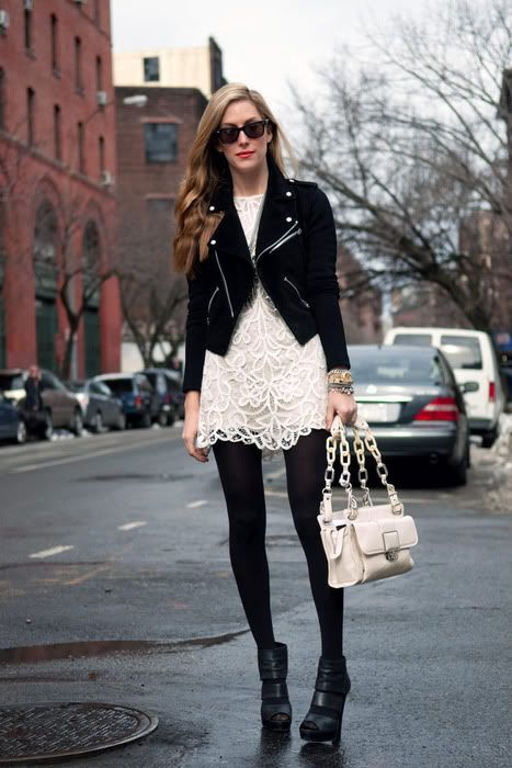 Pair Your Lacy White Summer Dress With A Leather Jacket Or Blazer Black S And Booties
