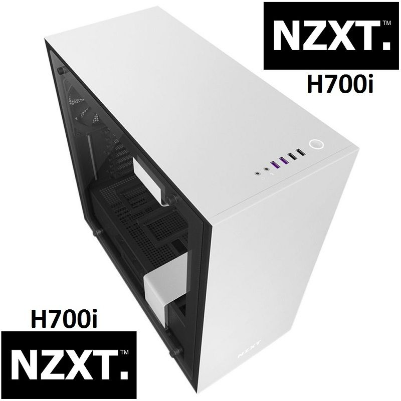 Nzxt H700i Mid Tower Gaming Pc Case Tempered Glass White Personal Computer Center Cooling Installation Pc Cases Tempered Glass