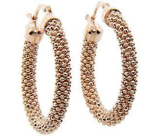 Sterling Diamond Cut Mesh Bead Hoop Earrings, 14K Rose Gold
