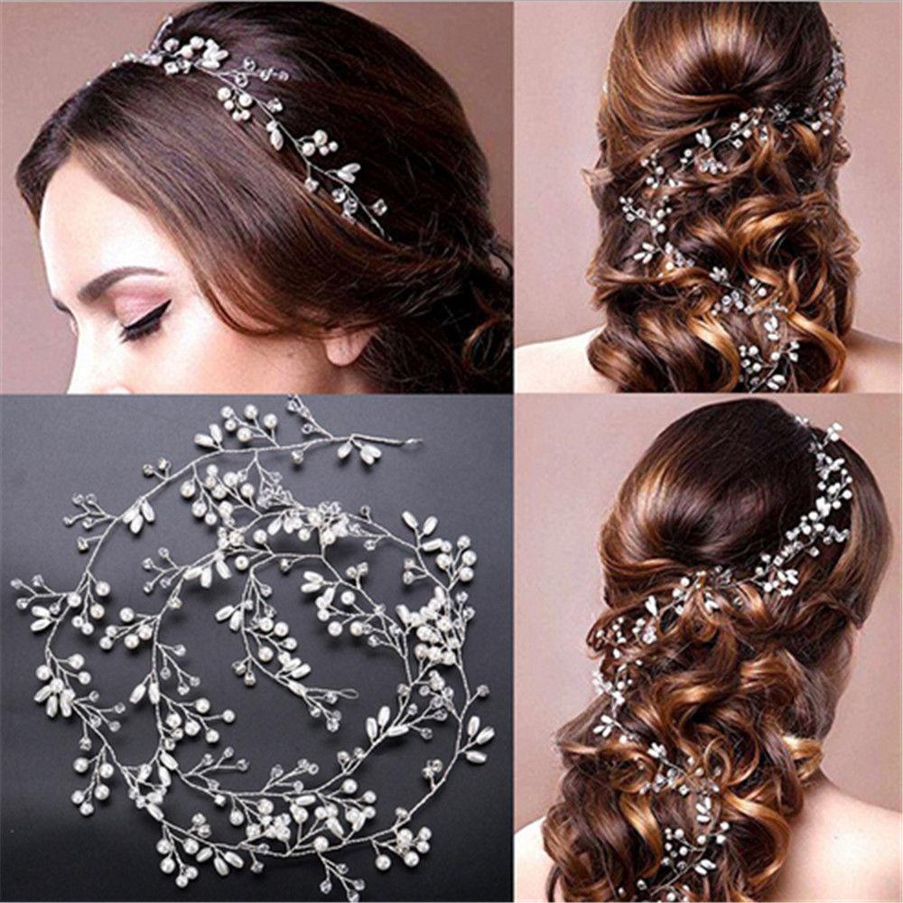 2.99aud - women pearl wedding hair vine crystal bridal