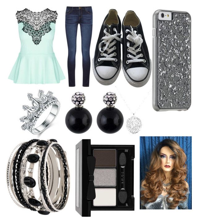 """"""""""" by mallycrawley on Polyvore featuring City Chic, DL1961 Premium Denim, Converse and NYX"""
