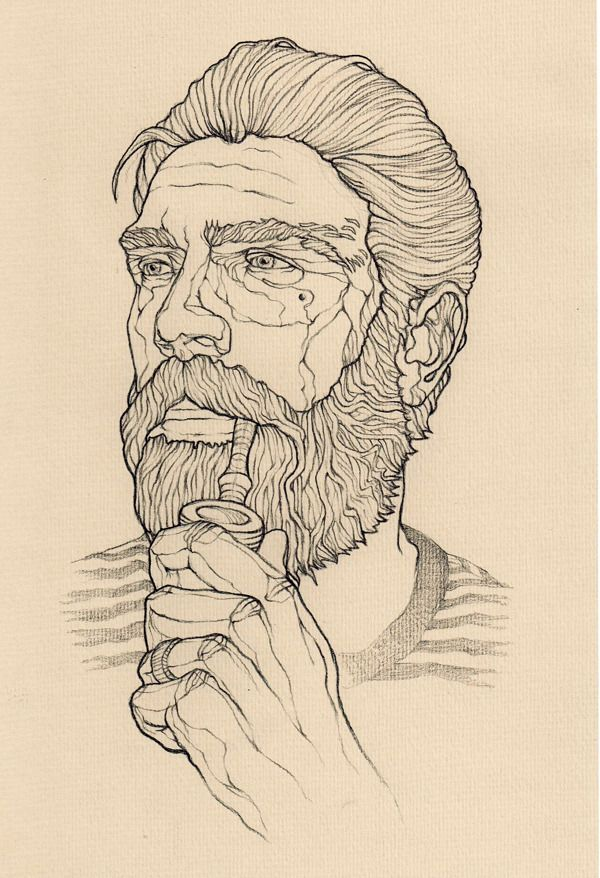 Line Drawing Pencil : Handsome bearded sailor pencil ink line drawing by