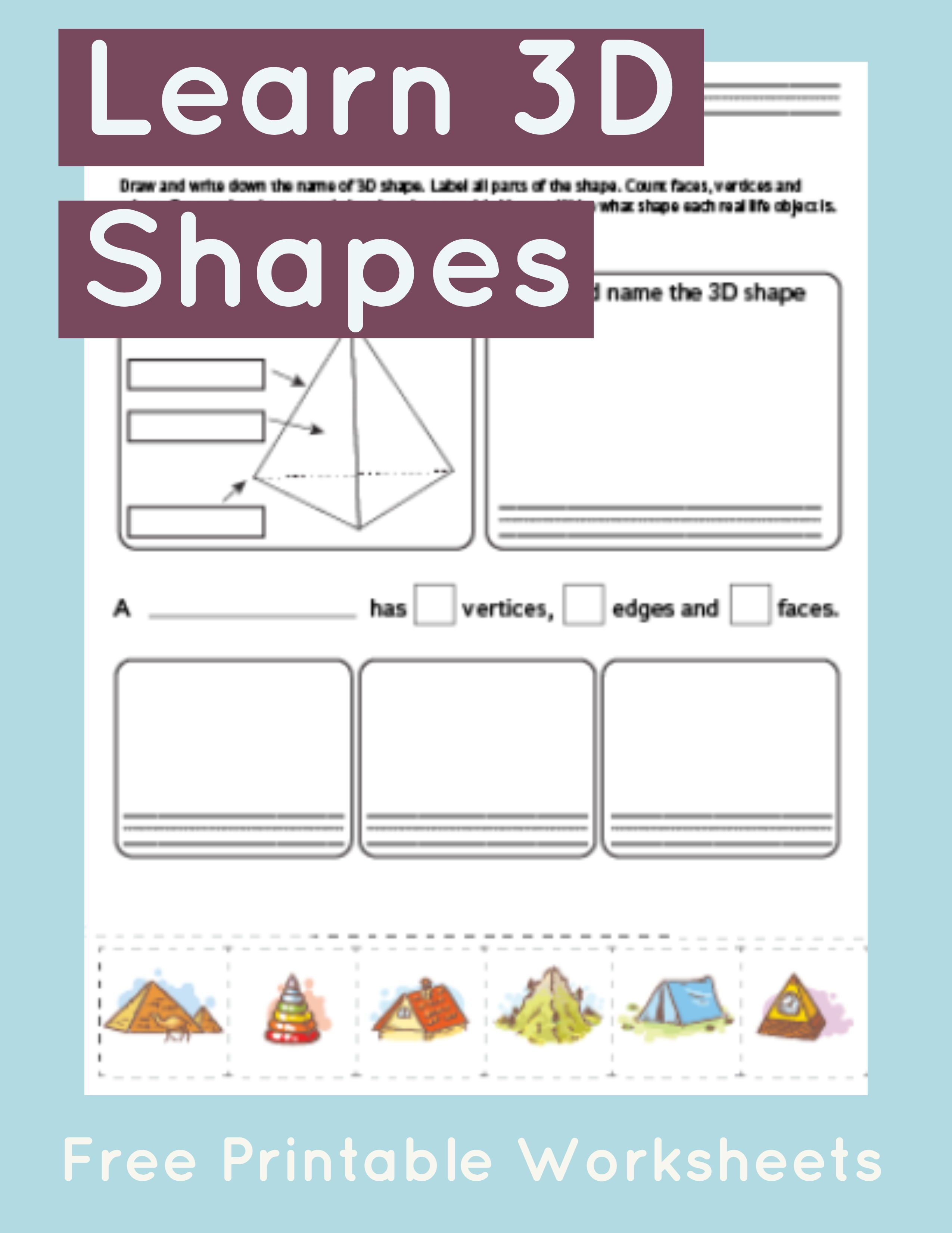 3d Shapes Faces Edges Vertices Worksheet   Printable Worksheets and  Activities for Teachers [ 3301 x 2550 Pixel ]