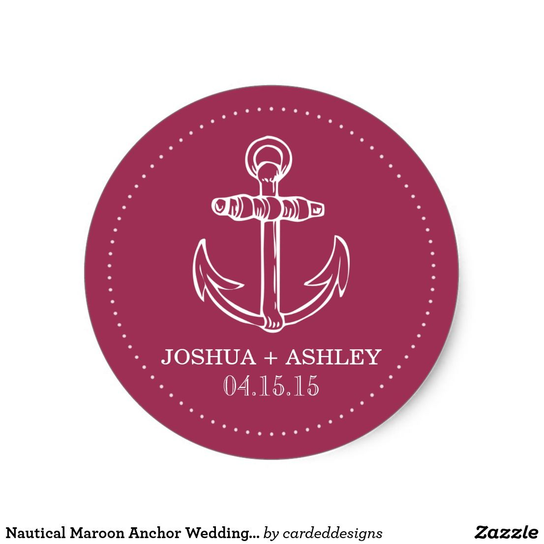 Nautical Maroon Anchor Wedding Date Classic Round Sticker ...