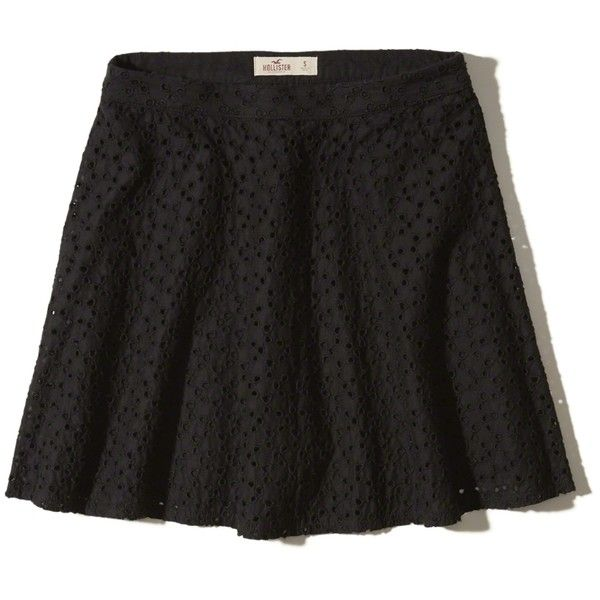 Hollister Eyelet Skater Skirt (510 ARS) ❤ liked on Polyvore featuring skirts, black, eyelet skirt, skater skirt, flared skirt and circle skirts