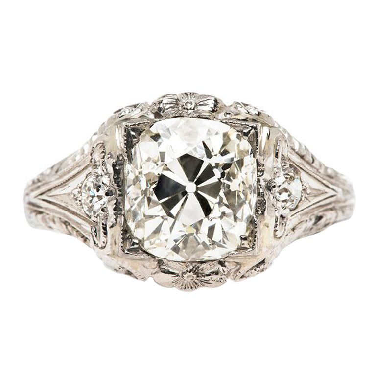 2.51 Carat Diamond Platinum Edwardian Engagement Ring