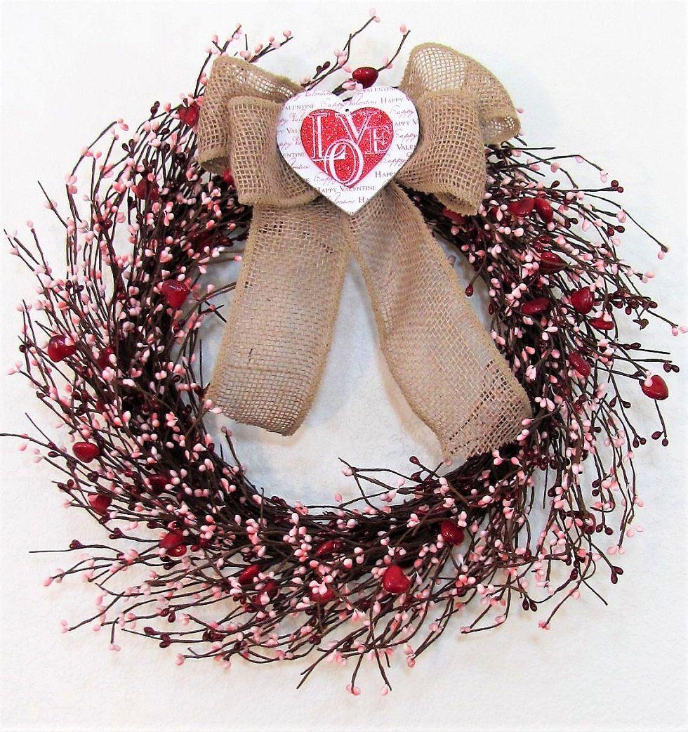 Valentines wreath red heart pink berry wreath front door valentines wreath red heart pink berry wreath front door wreath pip berry rubansaba