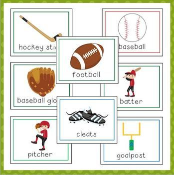 sports vocabulary cards for preschool and kindergarten prek sports theme classroom. Black Bedroom Furniture Sets. Home Design Ideas