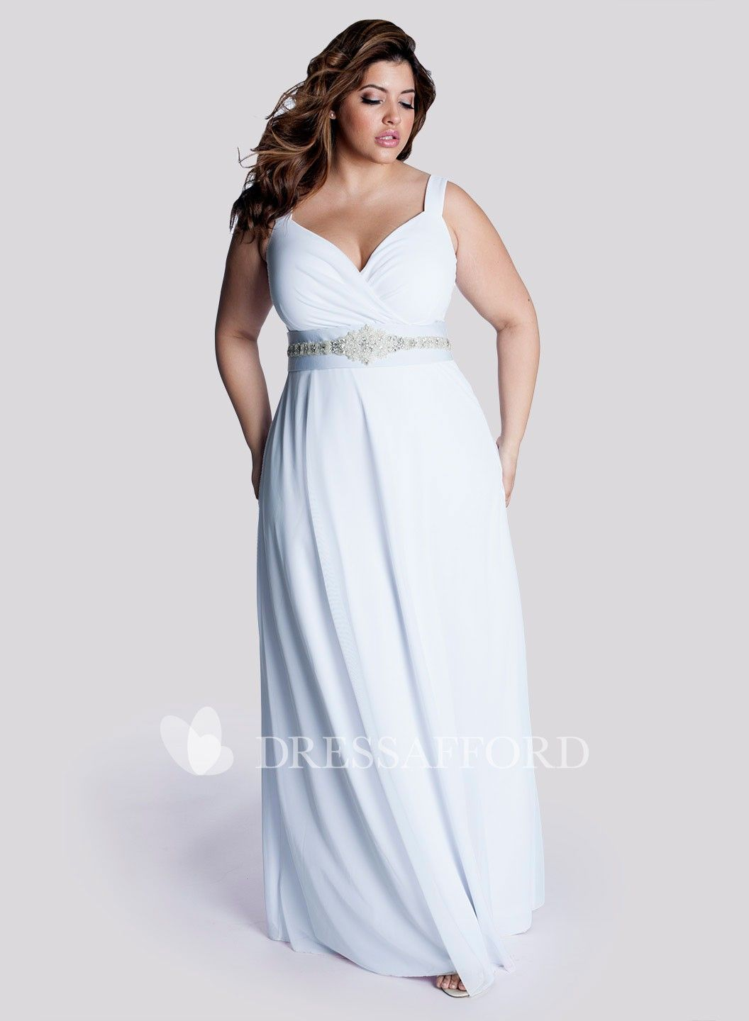 Casual Strapped Chiffon Dress With Ruching And Jeweled Waist Dress Afford In 2020 Wedding Dresses Plus Size Plus Size Wedding Gowns Trendy Wedding Dresses