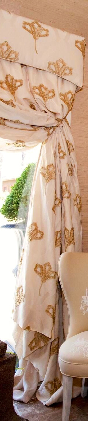 Silk taffeta embellished curtains