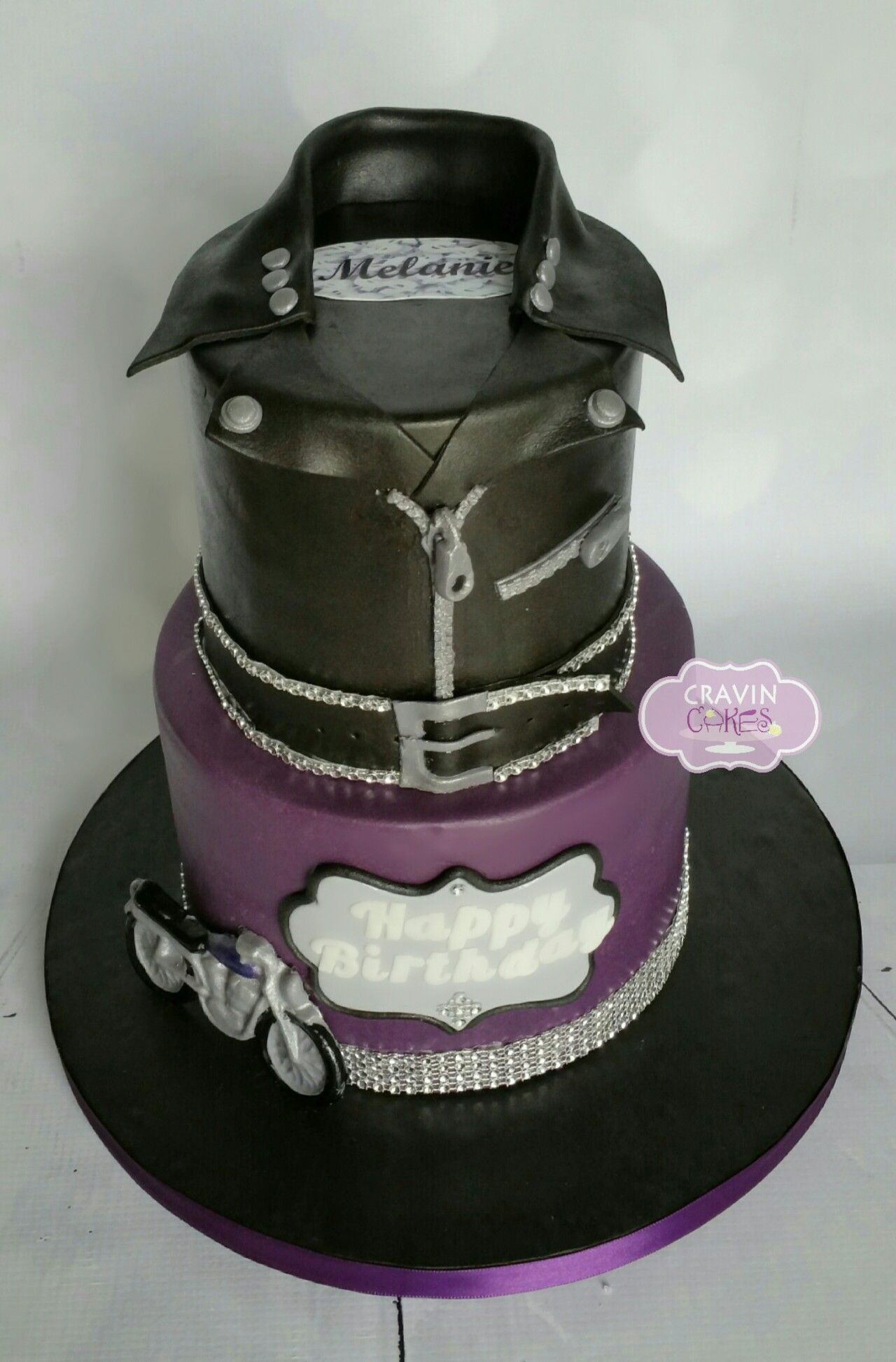 Purple and black biker cake Adult Birthday Cakes Pinterest