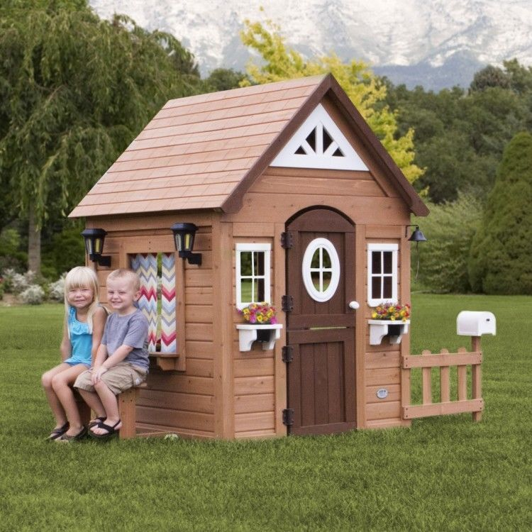 Outdoor Wooden Playhouse Kids Children Backyard Cedar Cottage Pretend Toy House Outdoorplayhousesstructurescolle Play Houses Cedar Playhouse Build A Playhouse