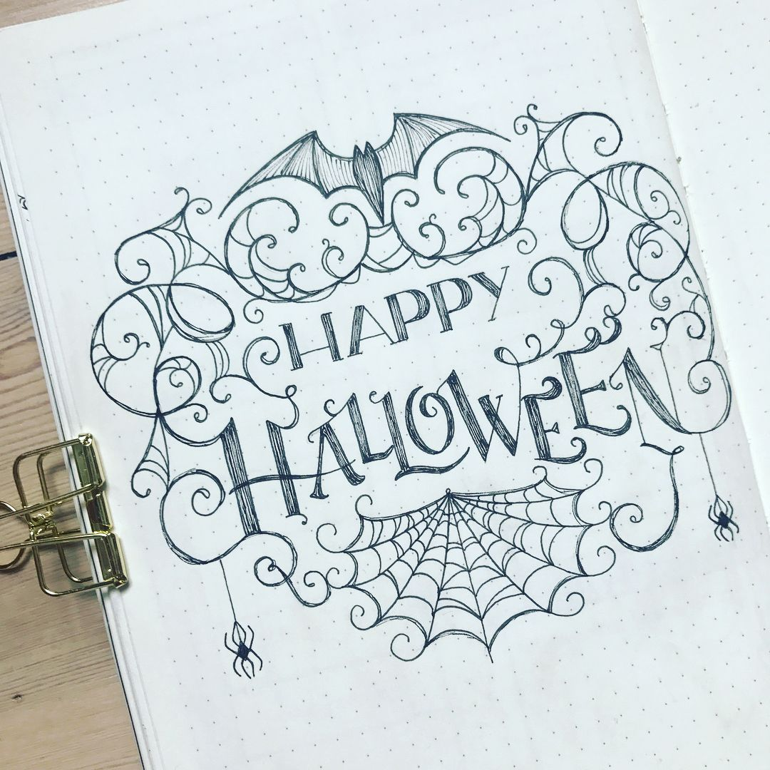 Happy Halloween Everyone I M Really Bad At Coming Up With Drawing Ideas From My Imagination A Bullet Journal Inspiration Bujo Inspiration Planner Decorating
