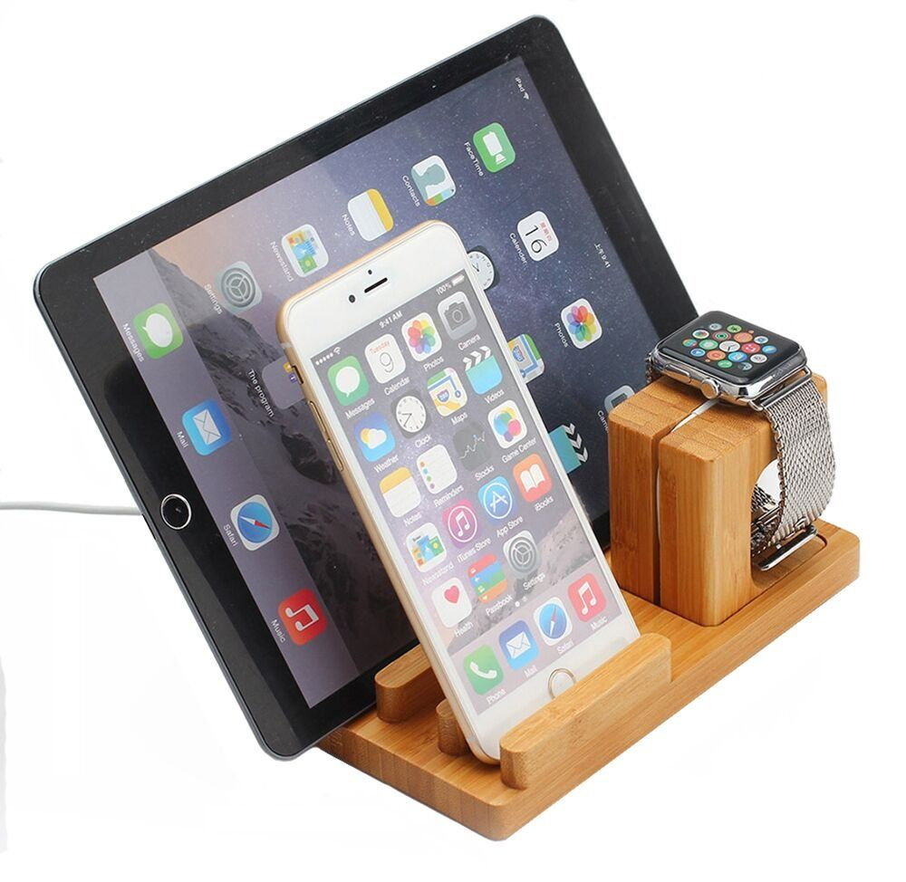 BLUBOON Docking Station Ladestation Bambus Holz Desktop Ständer für iPad/iwatch/iPhone 5/5S/6/6 Plus (Helle Farbe)