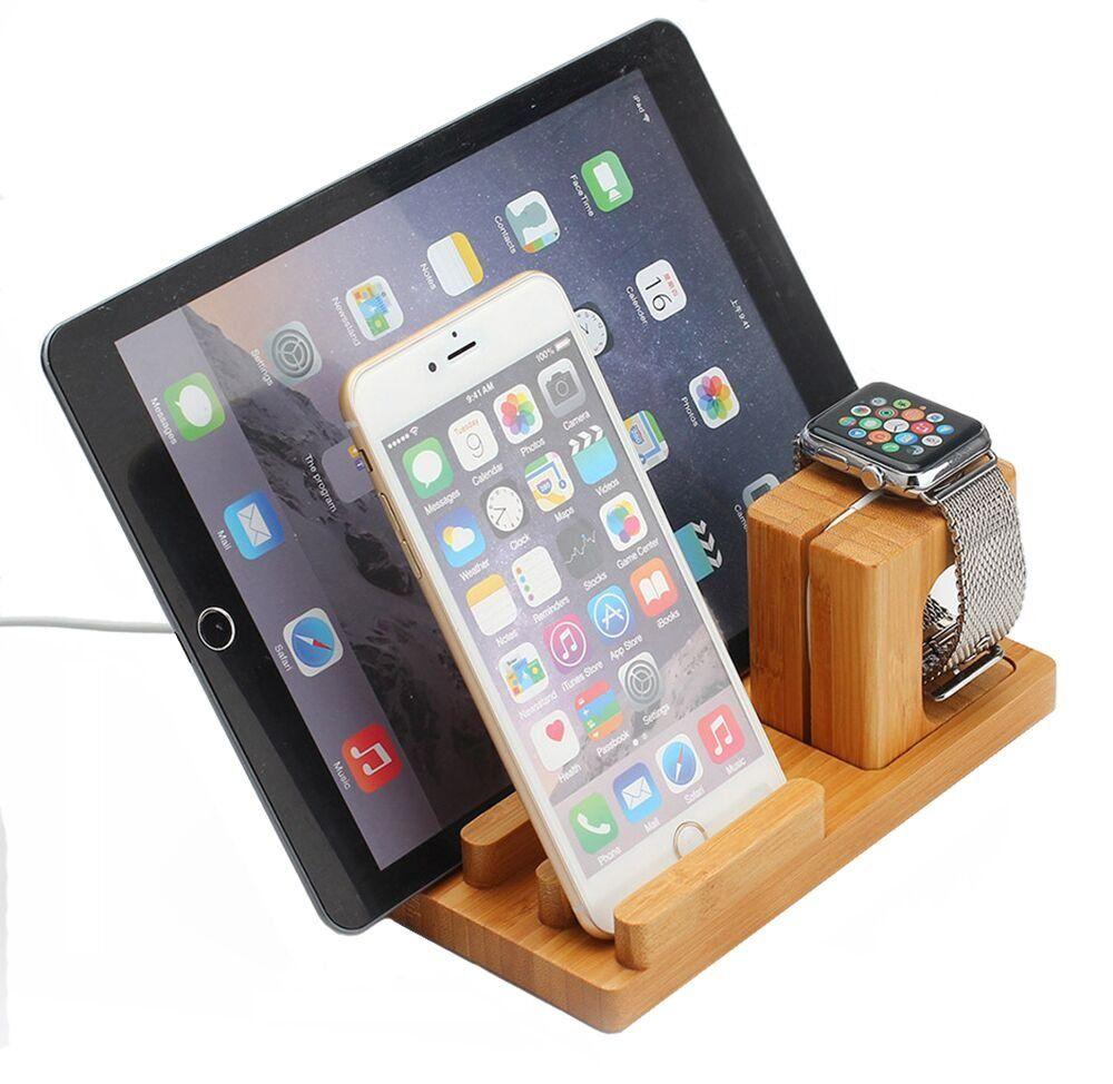 BLUBOON Docking Station Ladestation Bambus Holz Desktop Ständer für iPad/iwatch/iPhone 5/5S/6/6 Plus (Helle Farbe)