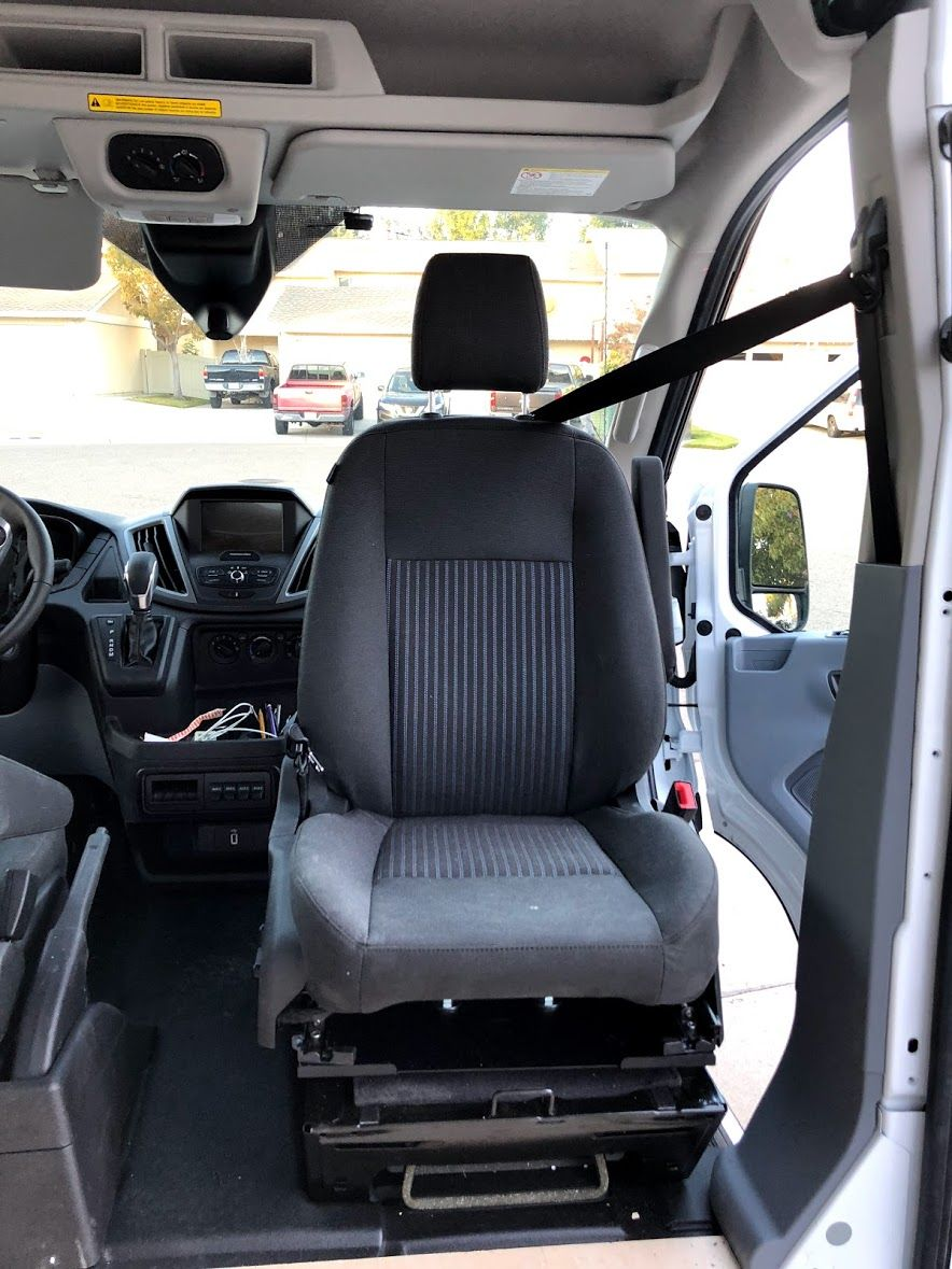 A Swivel Passenger Seat As A Computer Workstation In A Ford Transit Van Ford Transit Seating Swivel