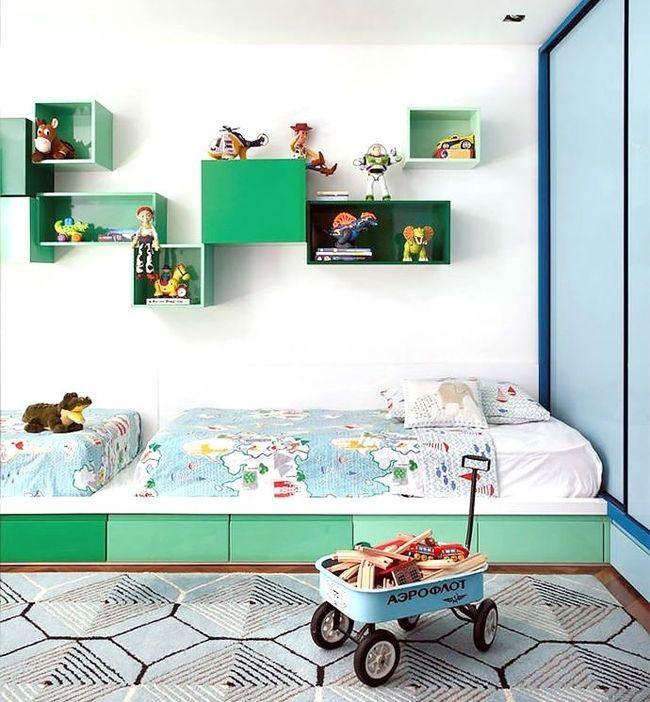 Chambre du0027enfant double verte et bleue chambre du0027enfants - Amenager Une Chambre D Enfant