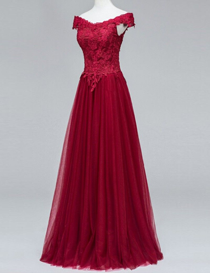 A Line Off the Shoulder Floor Length Burgundy Ruched Prom Dress
