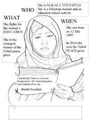 English worksheet: Malala Yousafzai