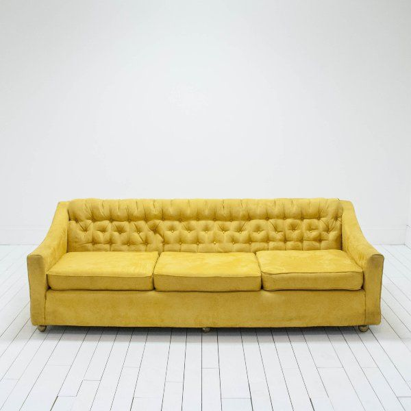 Bright Yellow Mid Century Modern Sofa   Wes Anderson Wedding   Weddings And  Corporate Events