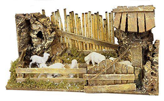 Recinto con pecore, fatto e colorato a mano in ITALIA cm24x11x11